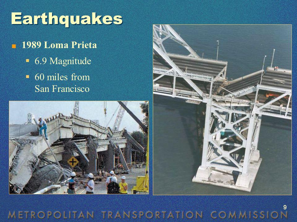 Earthquakes  1989 Loma Prieta  6.9 Magnitude  60 miles from San Francisco 9