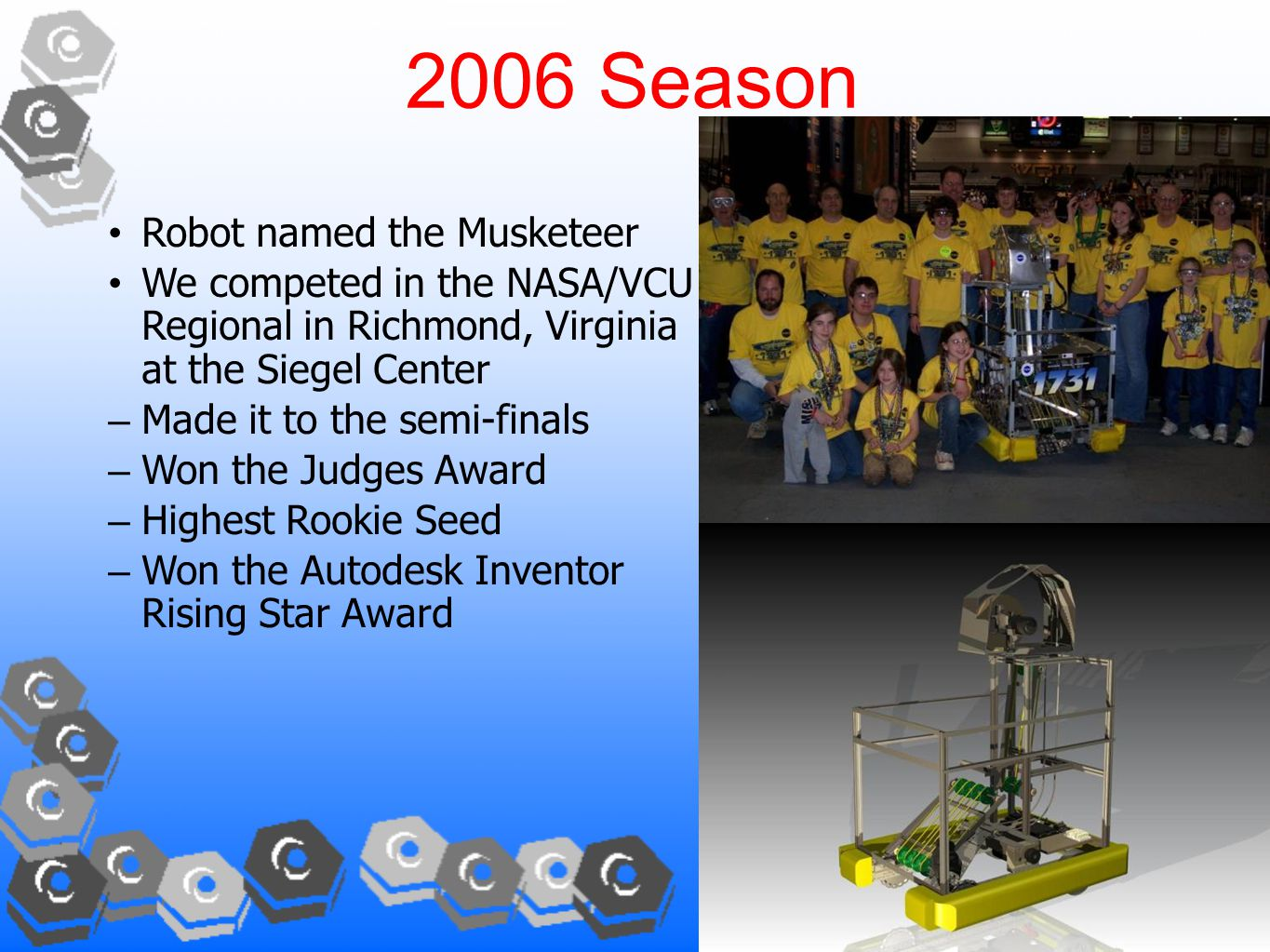 2006 Season Robot named the Musketeer We competed in the NASA/VCU Regional in Richmond, Virginia at the Siegel Center – Made it to the semi-finals – Won the Judges Award – Highest Rookie Seed – Won the Autodesk Inventor Rising Star Award