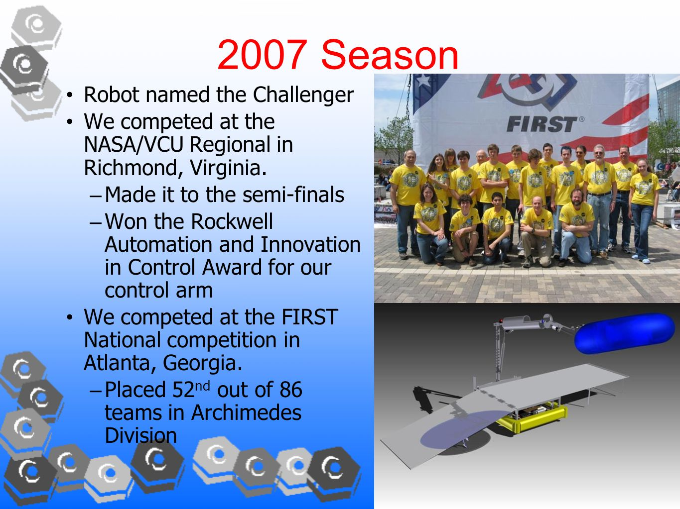 2007 Season Robot named the Challenger We competed at the NASA/VCU Regional in Richmond, Virginia.