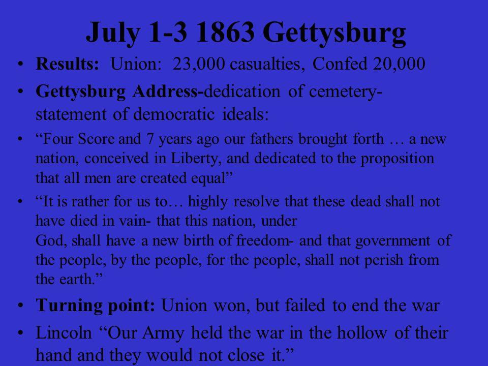 "July 1-3 1863 Gettysburg Results: Union: 23,000 casualties, Confed 20,000 Gettysburg Address-dedication of cemetery- statement of democratic ideals: """