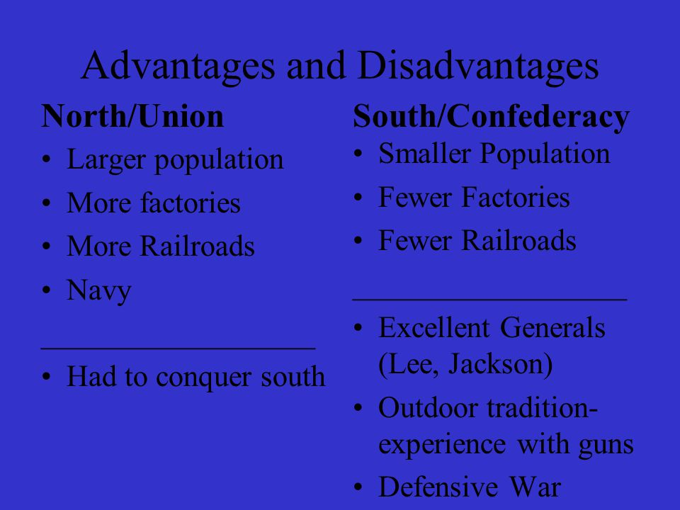 Advantages and Disadvantages North/Union Larger population More factories More Railroads Navy __________________ Had to conquer south South/Confederac