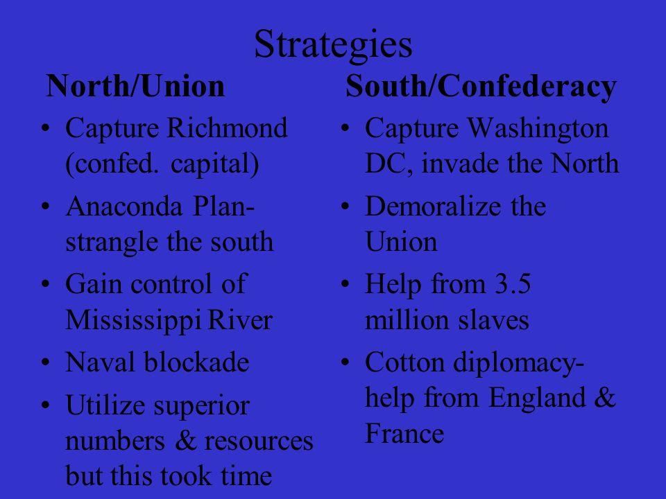 Strategies North/Union Capture Richmond (confed. capital) Anaconda Plan- strangle the south Gain control of Mississippi River Naval blockade Utilize s