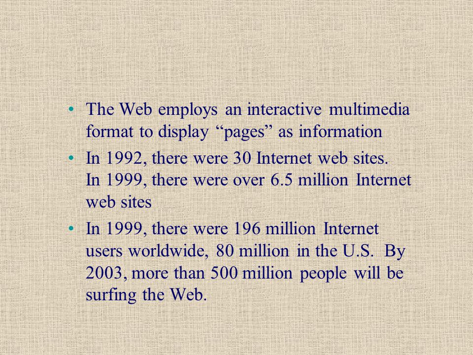 The Web employs an interactive multimedia format to display pages as information In 1992, there were 30 Internet web sites.