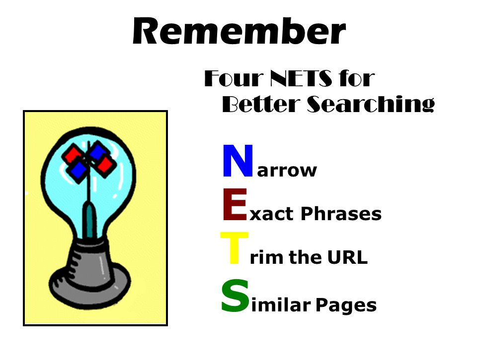 Remember Four NETS for Better Searching N arrow E xact Phrases T rim the URL S imilar Pages