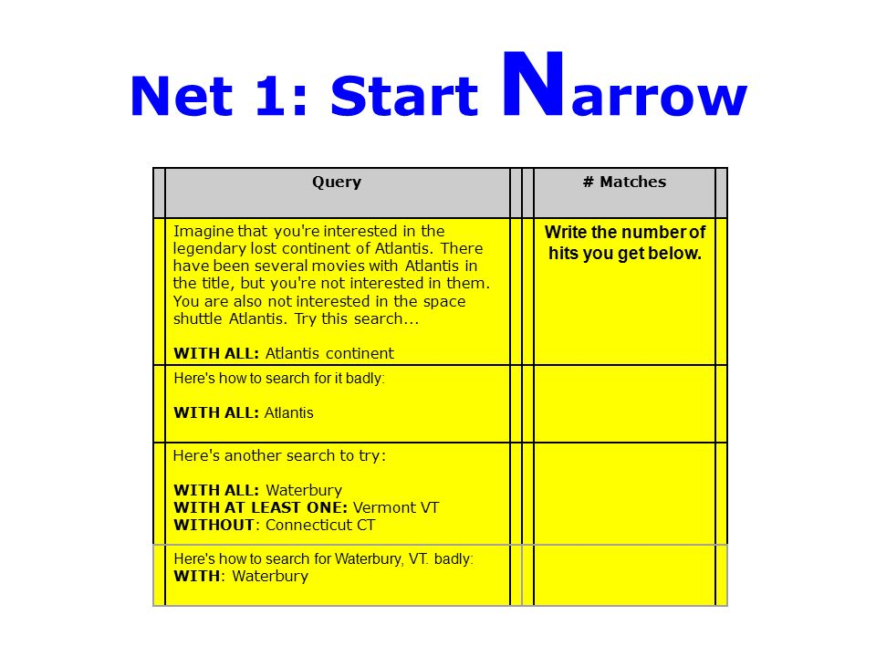 Net 1: Start N arrow Query# Matches Imagine that you're interested in the legendary lost continent of Atlantis. There have been several movies with At