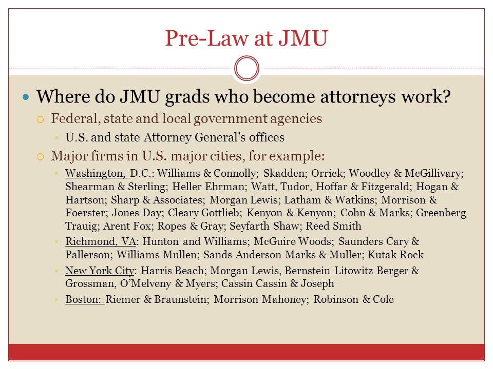 Pre-Law at JMU Where do JMU grads who become attorneys work.