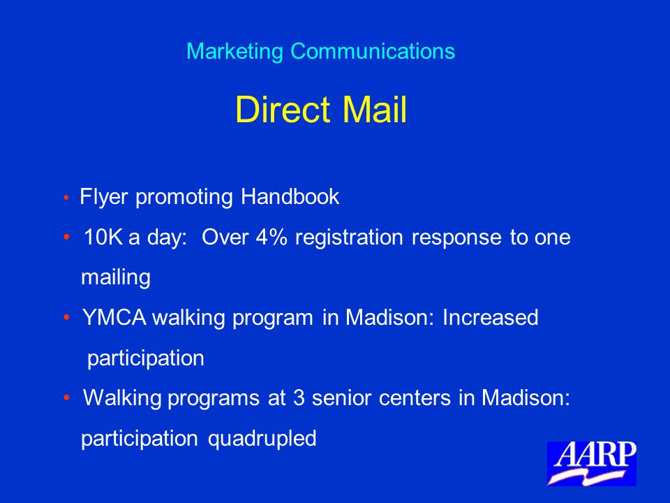 Flyer promoting Handbook 10K a day: Over 4% registration response to one mailing YMCA walking program in Madison: Increased participation Walking prog