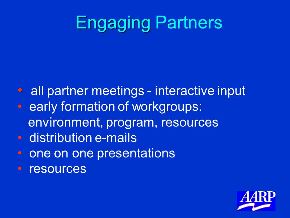 Engaging Engaging Partners all partner meetings - interactive input early formation of workgroups: environment, program, resources distribution e-mail