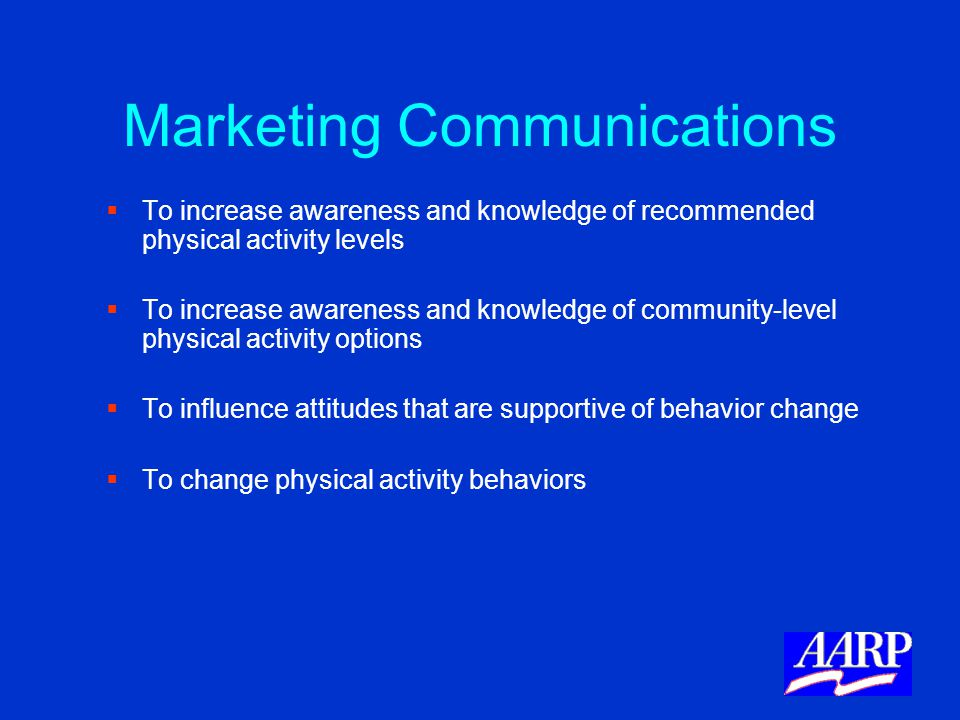 Marketing Communications   To increase awareness and knowledge of recommended physical activity levels   To increase awareness and knowledge of co