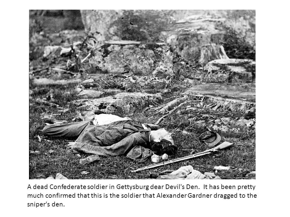 A dead Confederate soldier in Gettysburg dear Devil s Den.