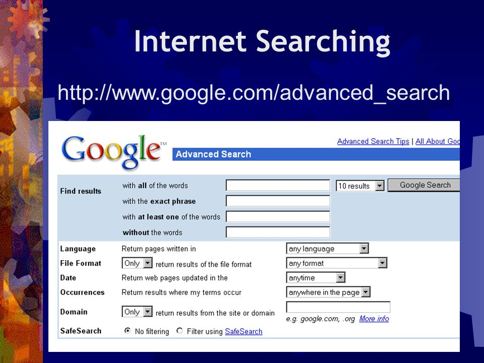 Internet Searching http://www.google.com/advanced_search