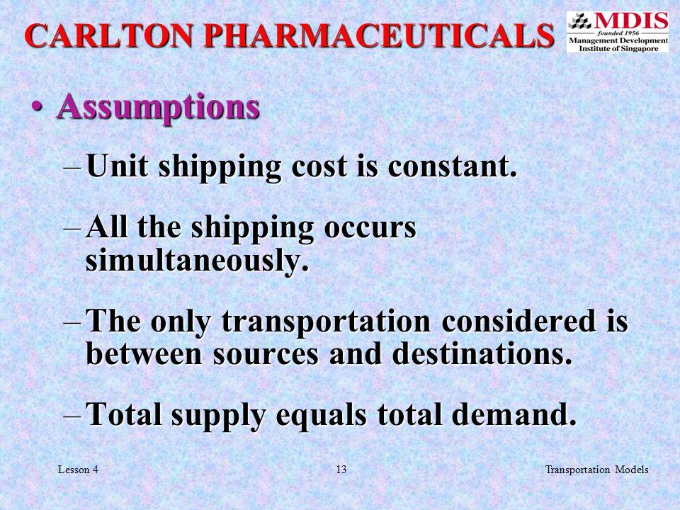 13Transportation ModelsLesson 4 AssumptionsAssumptions –Unit shipping cost is constant.