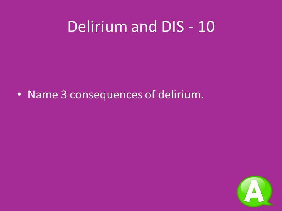 Delirium and DISRASSResearch 10 20 30