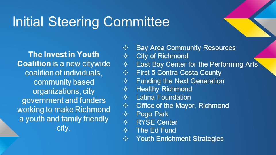 Initial Steering Committee  Bay Area Community Resources  City of Richmond  East Bay Center for the Performing Arts  First 5 Contra Costa County  Funding the Next Generation  Healthy Richmond  Latina Foundation  Office of the Mayor, Richmond  Pogo Park  RYSE Center  The Ed Fund  Youth Enrichment Strategies The Invest in Youth Coalition is a new citywide coalition of individuals, community based organizations, city government and funders working to make Richmond a youth and family friendly city.