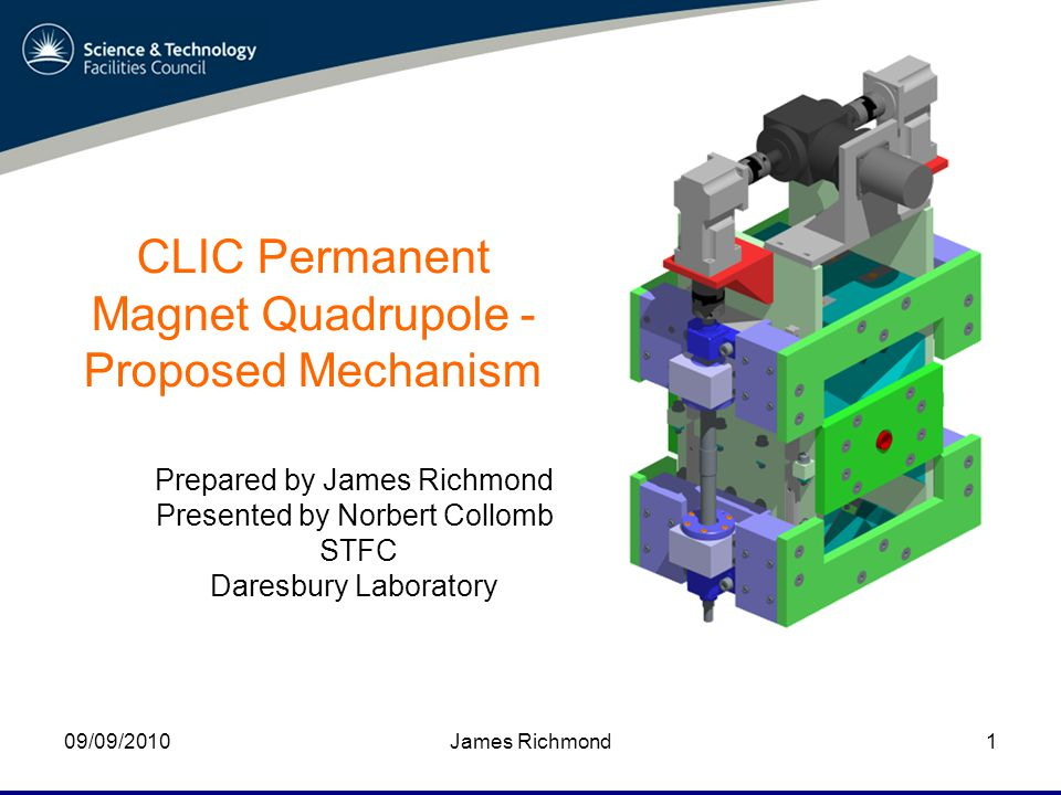James Richmond09/09/20101 CLIC Permanent Magnet Quadrupole - Proposed Mechanism Prepared by James Richmond Presented by Norbert Collomb STFC Daresbury Laboratory