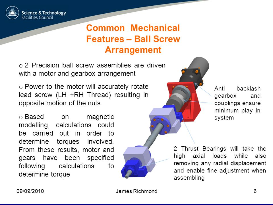 09/09/2010James Richmond6 Common Mechanical Features – Ball Screw Arrangement o 2 Precision ball screw assemblies are driven with a motor and gearbox arrangement 2 Thrust Bearings will take the high axial loads while also removing any radial displacement and enable fine adjustment when assembling Anti backlash gearbox and couplings ensure minimum play in system o Based on magnetic modelling, calculations could be carried out in order to determine torques involved.