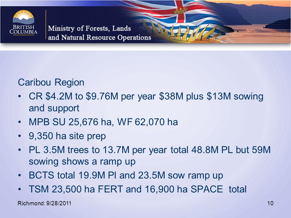 Caribou Region CR $4.2M to $9.76M per year $38M plus $13M sowing and support MPB SU 25,676 ha, WF 62,070 ha 9,350 ha site prep PL 3.5M trees to 13.7M per year total 48.8M PL but 59M sowing shows a ramp up BCTS total 19.9M Pl and 23.5M sow ramp up TSM 23,500 ha FERT and 16,900 ha SPACE total Richmond: 9/28/201110