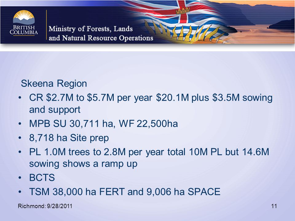 Skeena Region CR $2.7M to $5.7M per year $20.1M plus $3.5M sowing and support MPB SU 30,711 ha, WF 22,500ha 8,718 ha Site prep PL 1.0M trees to 2.8M per year total 10M PL but 14.6M sowing shows a ramp up BCTS TSM 38,000 ha FERT and 9,006 ha SPACE Richmond: 9/28/201111