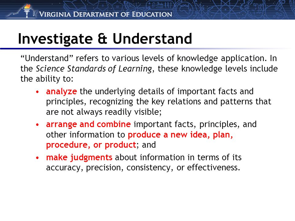 Investigate & Understand Understand refers to various levels of knowledge application.