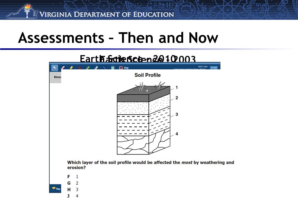 Earth Science – 2003 Earth Science – 2010 Assessments – Then and Now