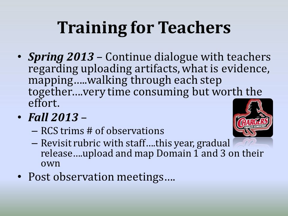 Training for Teachers Spring 2013 – Continue dialogue with teachers regarding uploading artifacts, what is evidence, mapping…..walking through each step together….very time consuming but worth the effort.