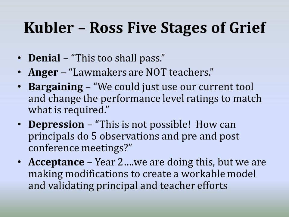 Kubler – Ross Five Stages of Grief Denial – This too shall pass. Anger – Lawmakers are NOT teachers. Bargaining – We could just use our current tool and change the performance level ratings to match what is required. Depression – This is not possible.