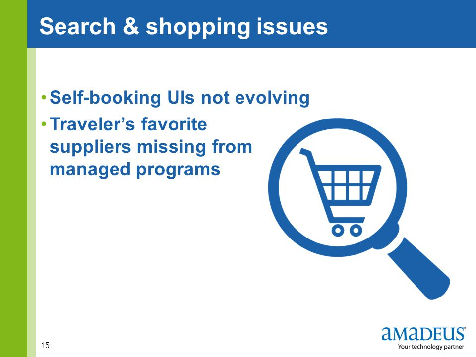 Click to edit Master title style Self-booking UIs not evolving Traveler's favorite suppliers missing from managed programs 15 Search & shopping issues
