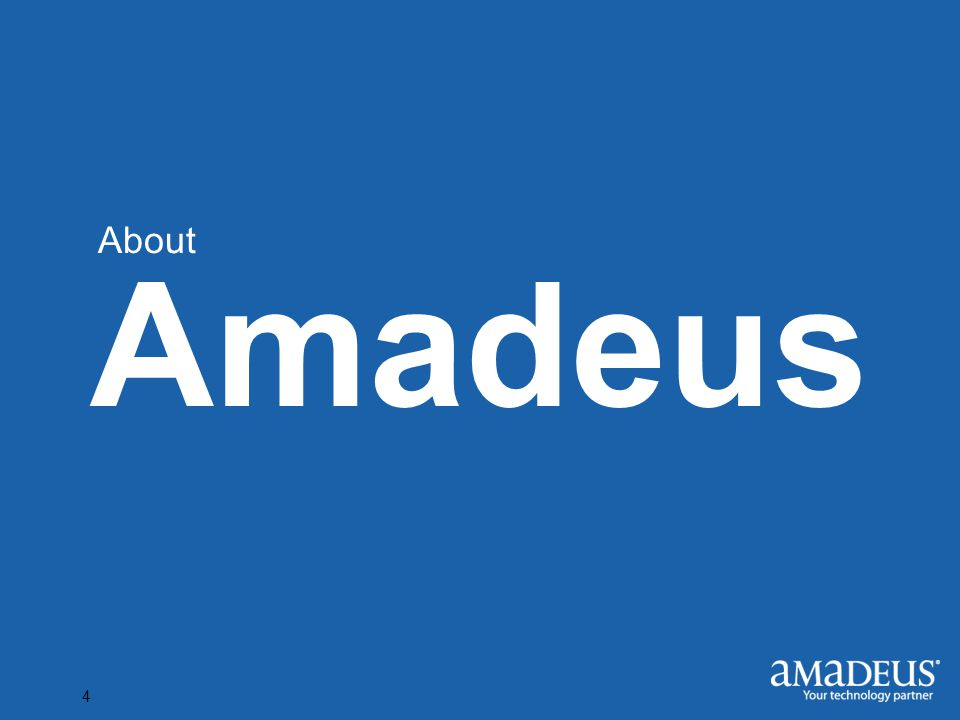 Click to edit Master title style 4 Amadeus About