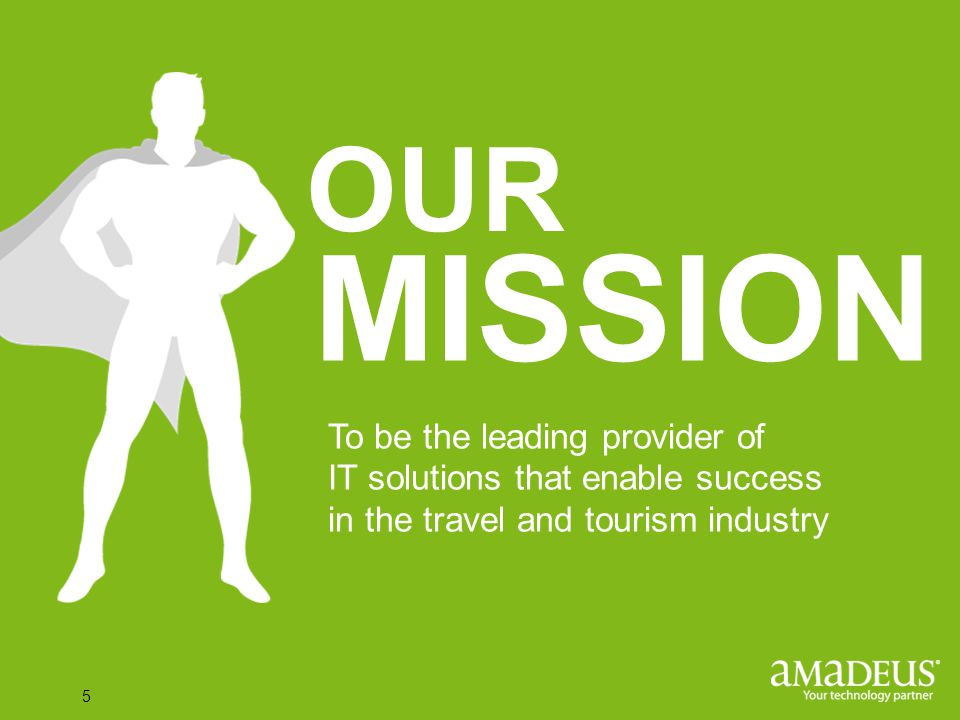 Click to edit Master title style 5 OUR To be the leading provider of IT solutions that enable success in the travel and tourism industry MISSION