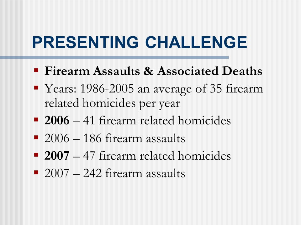 PRESENTING CHALLENGE  Firearm Assaults & Associated Deaths  Years: 1986-2005 an average of 35 firearm related homicides per year  2006 – 41 firearm related homicides  2006 – 186 firearm assaults  2007 – 47 firearm related homicides  2007 – 242 firearm assaults