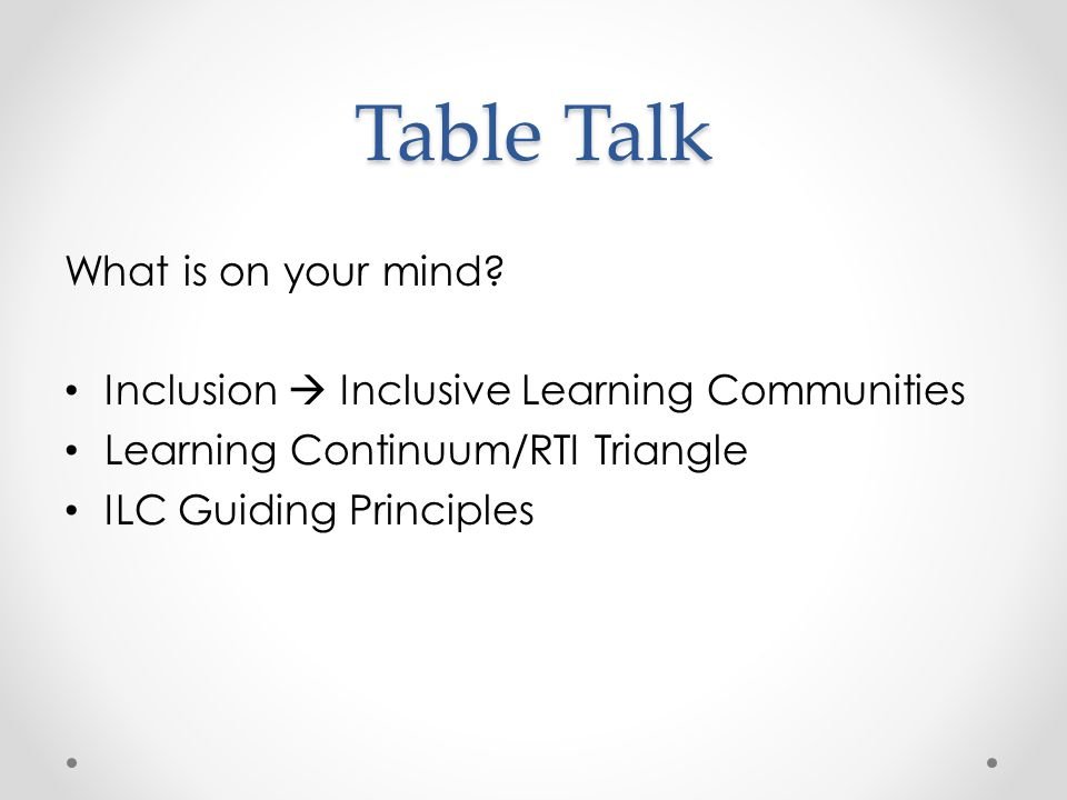 Table Talk What is on your mind.