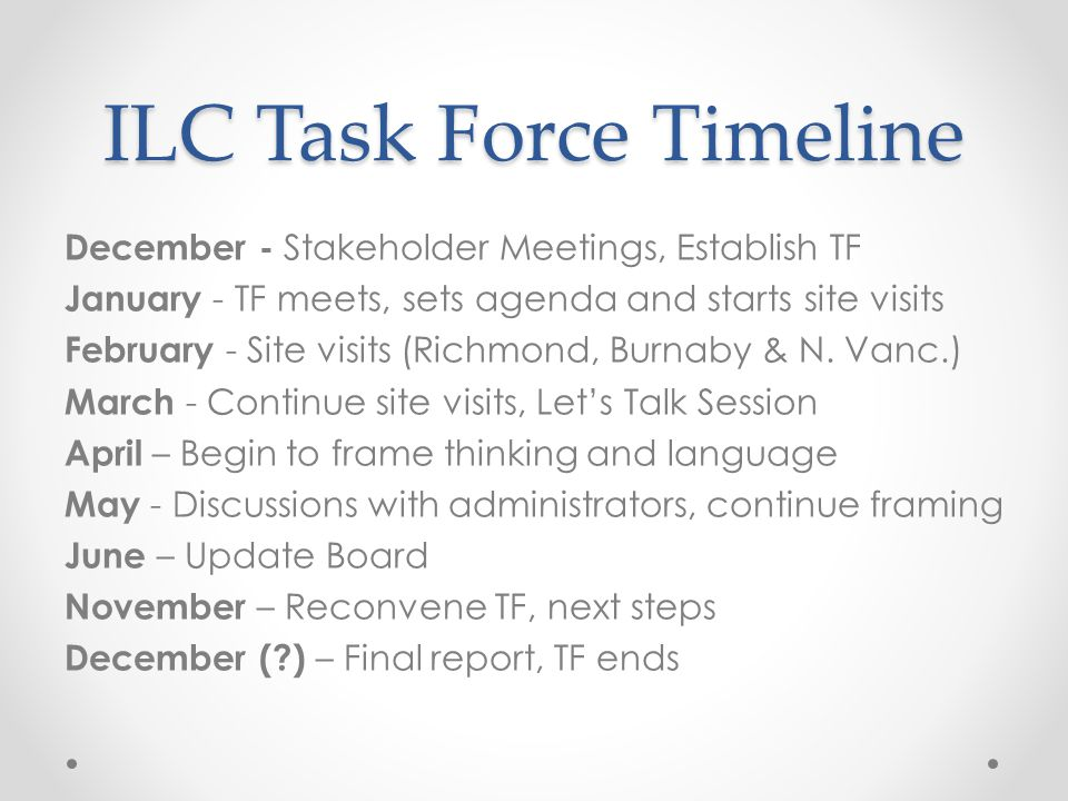 ILC Task Force Timeline December - Stakeholder Meetings, Establish TF January - TF meets, sets agenda and starts site visits February - Site visits (R