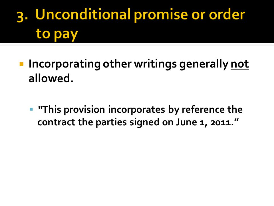 " Incorporating other writings generally not allowed.  ""This provision incorporates by reference the contract the parties signed on June 1, 2011."""