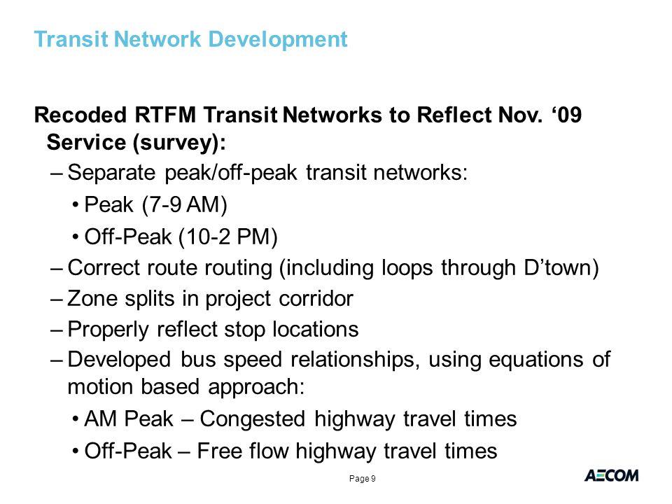 Transit Network Development Recoded RTFM Transit Networks to Reflect Nov.