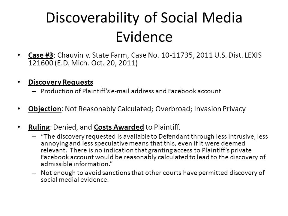 Discoverability of Social Media Evidence Case #3: Chauvin v.
