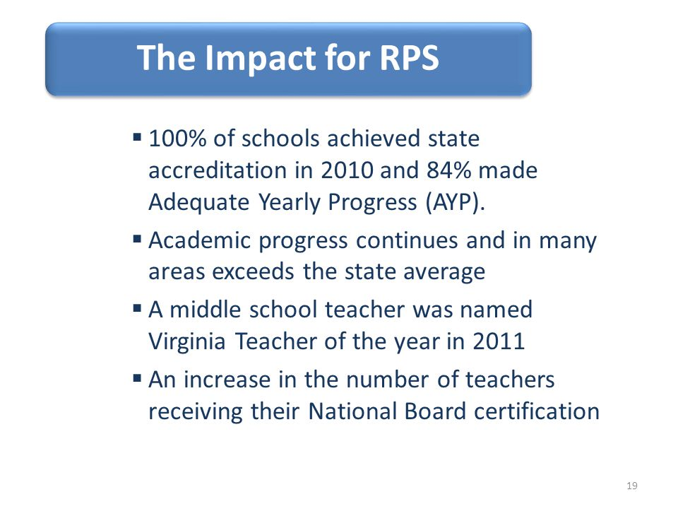 The Impact for RPS  100% of schools achieved state accreditation in 2010 and 84% made Adequate Yearly Progress (AYP).