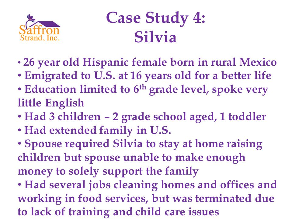 Case Study 4: Silvia 26 year old Hispanic female born in rural Mexico Emigrated to U.S.