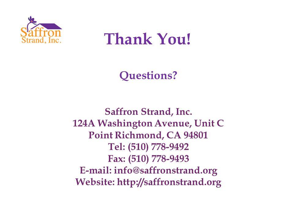 Thank You. Questions. Saffron Strand, Inc.