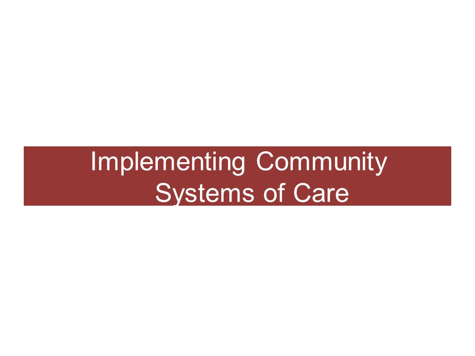 Implementing Community Systems of Care