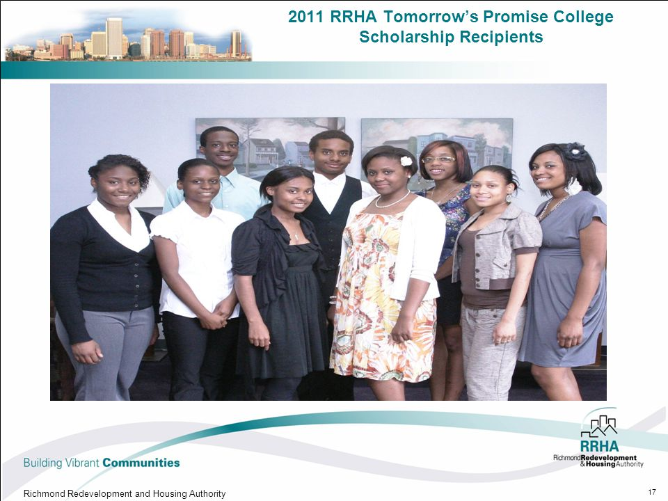 2011 RRHA Tomorrow's Promise College Scholarship Recipients Richmond Redevelopment and Housing Authority 17