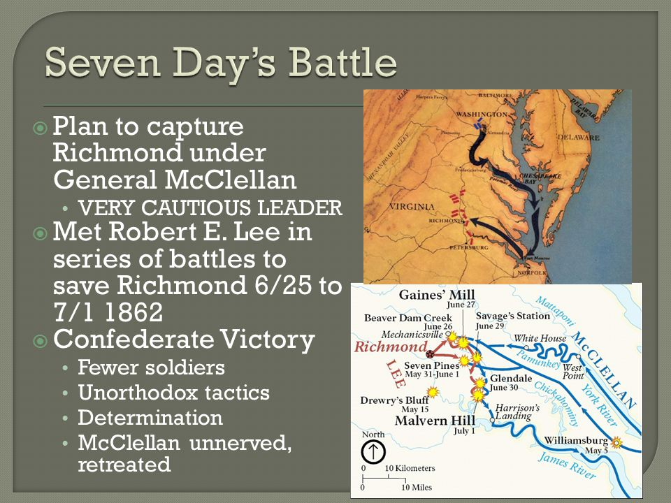  Plan to capture Richmond under General McClellan VERY CAUTIOUS LEADER  Met Robert E. Lee in series of battles to save Richmond 6/25 to 7/1 1862  C