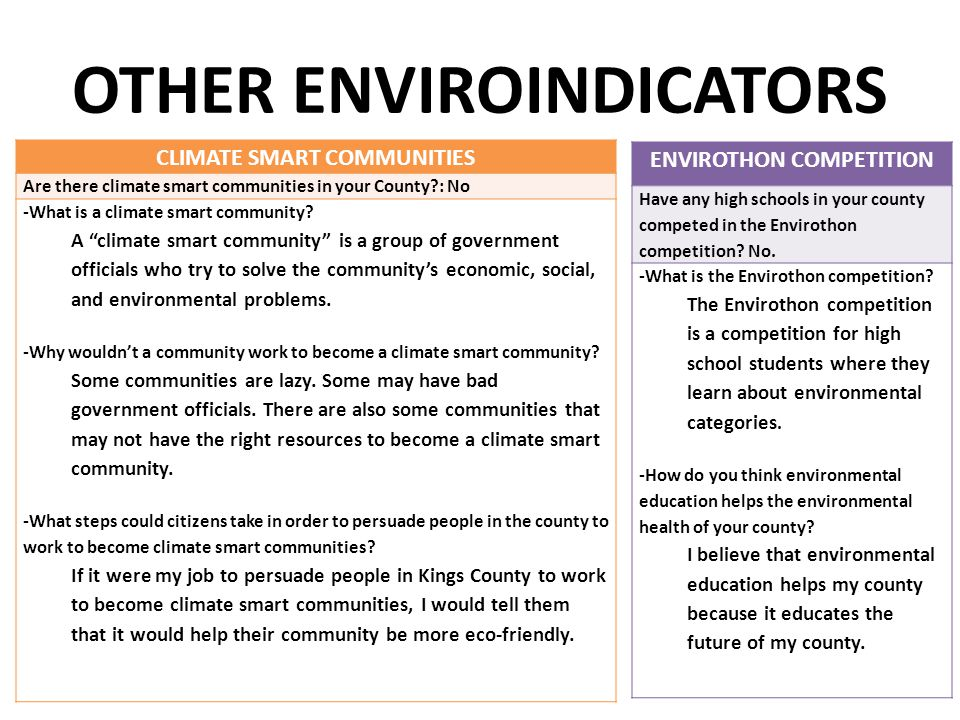 "OTHER ENVIROINDICATORS CLIMATE SMART COMMUNITIES Are there climate smart communities in your County?: No -What is a climate smart community? A ""climat"