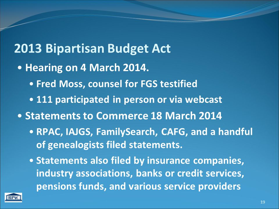 2013 Bipartisan Budget Act Hearing on 4 March 2014.