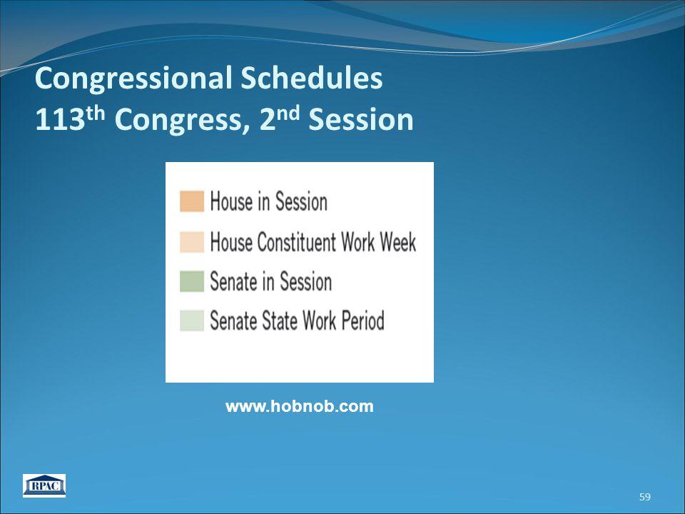 59 Congressional Schedules 113 th Congress, 2 nd Session www.hobnob.com