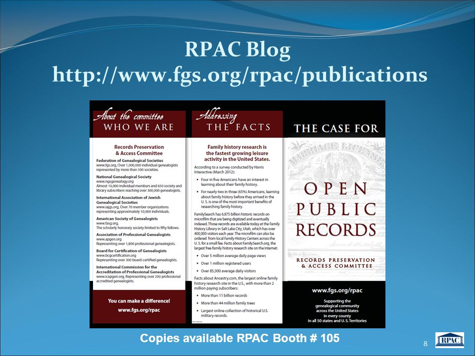 RPAC Blog http://www.fgs.org/rpac/publications 8 Copies available RPAC Booth # 105