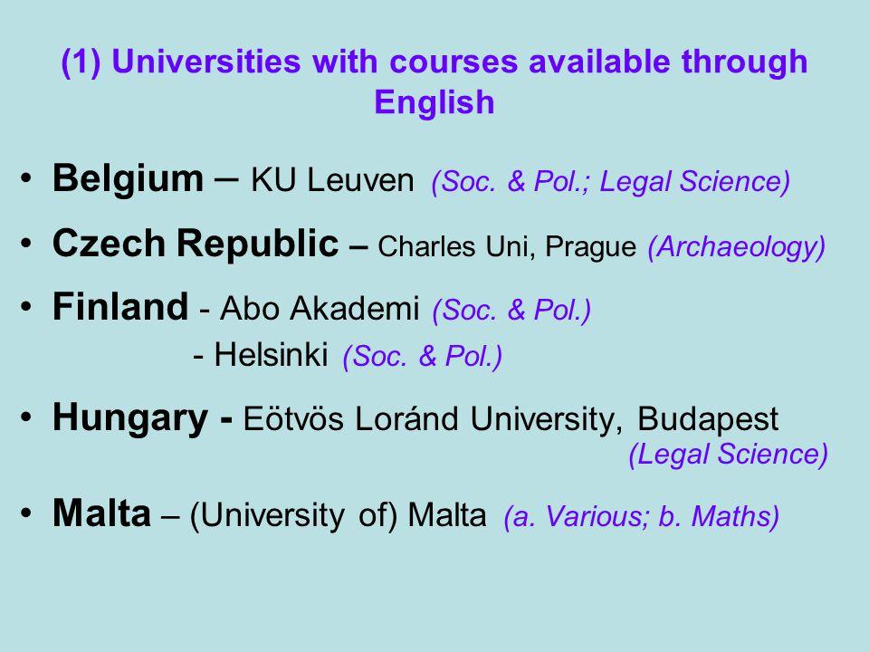 (1) Universities with courses available through English Belgium – KU Leuven (Soc.