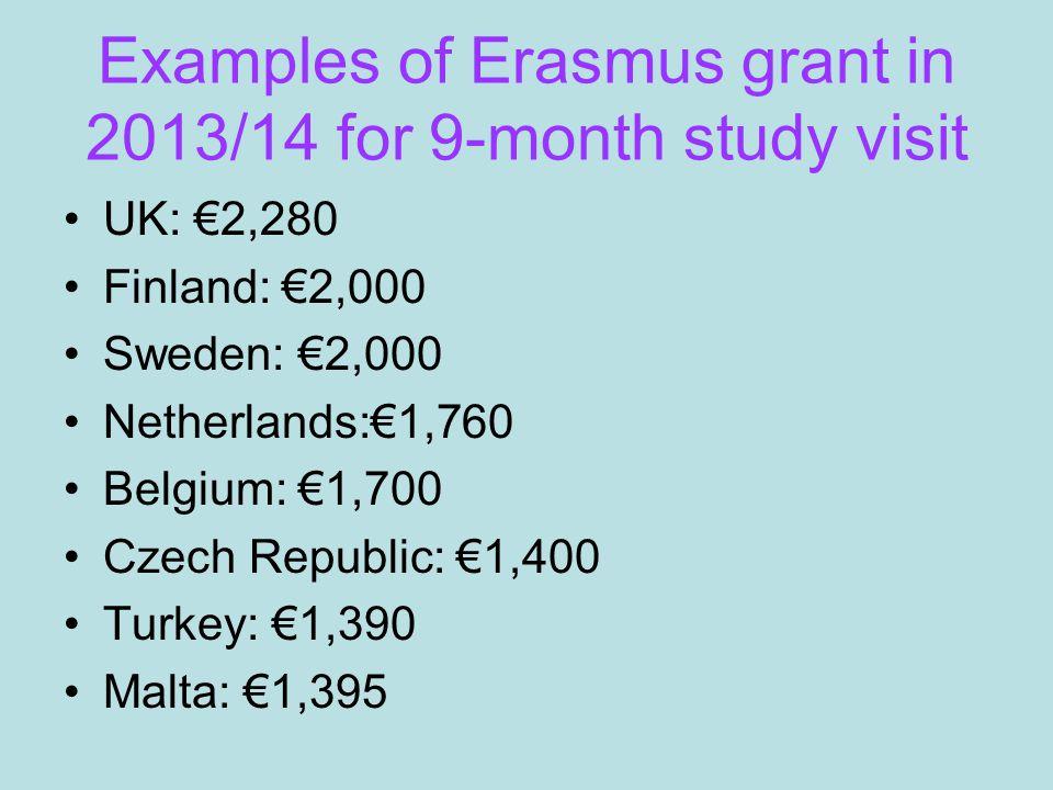 Examples of Erasmus grant in 2013/14 for 9-month study visit UK: €2,280 Finland: €2,000 Sweden: €2,000 Netherlands:€1,760 Belgium: €1,700 Czech Republic: €1,400 Turkey: €1,390 Malta: €1,395