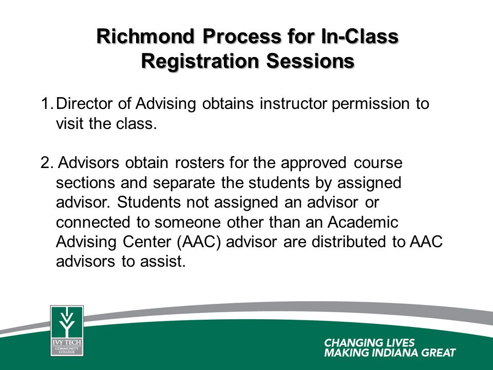 Richmond Process for In-Class Registration Sessions 1. 1.Director of Advising obtains instructor permission to visit the class. 2. Advisors obtain ros