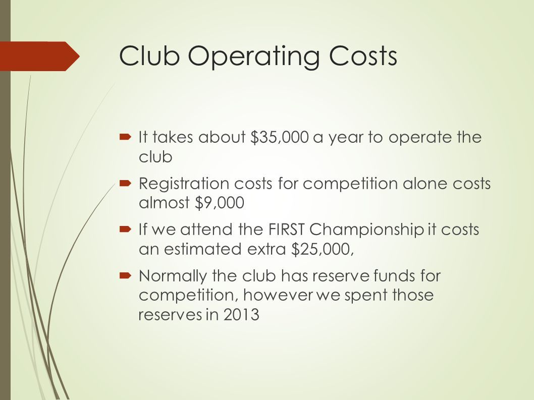 Club Operating Costs  It takes about $35,000 a year to operate the club  Registration costs for competition alone costs almost $9,000  If we attend