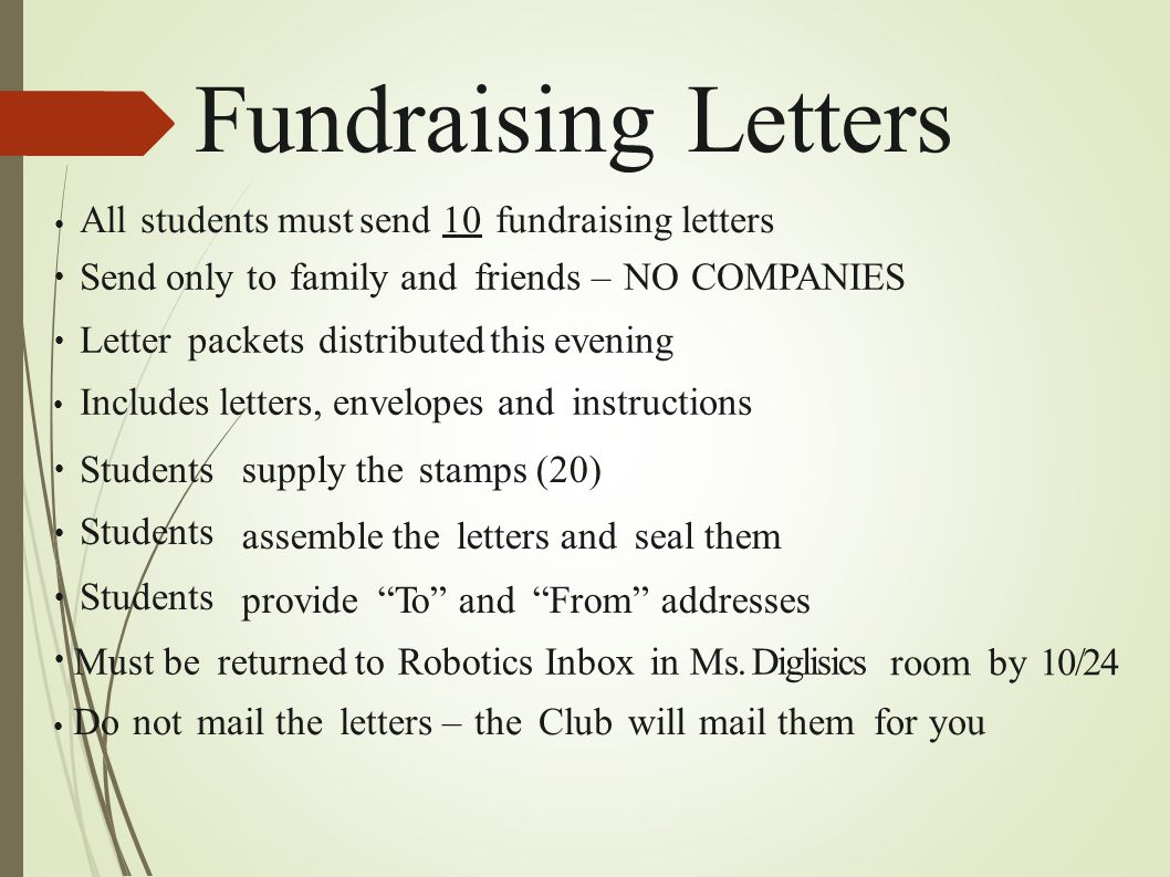 Fundraising Letters All students must send 10 fundraising letters ● Send only to family and friends – NO COMPANIES ● Letter packets distributed this e